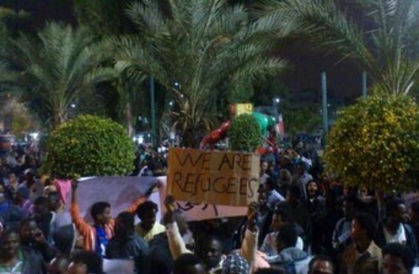African asylum seekers march in Tel Aviv  (photo credit: Ben Hartman)