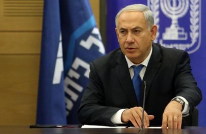 Prime Minister Netanyahu at Likud faction meeting Dec 30 (photo credit: Marc Israel Sellem/The Jerusalem Post)
