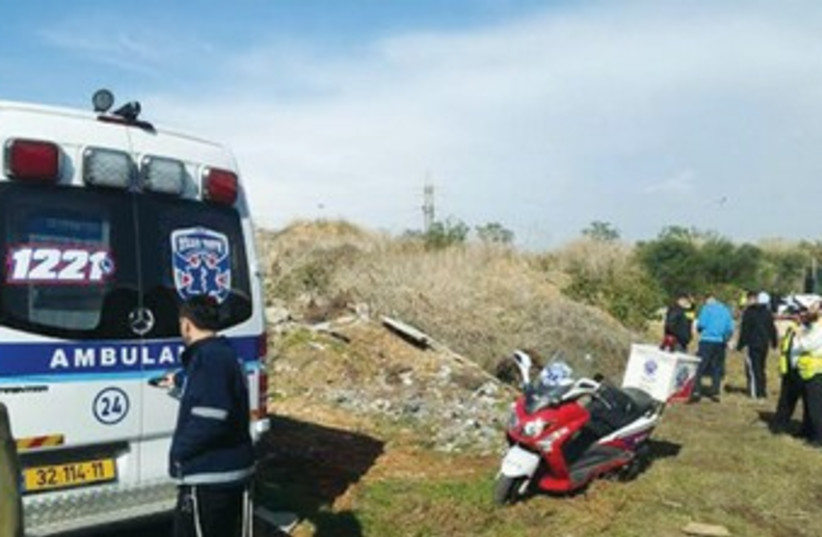 RECOVERY PERSONNEL are shown at the site in Bnei Brak (photo credit: news 24)