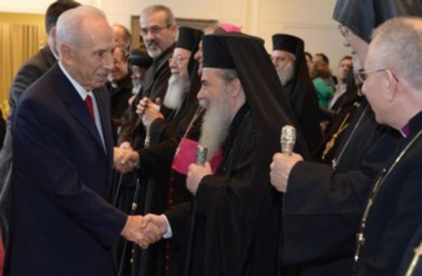 President Shimon Peres with Theophilos III. (photo credit: Mark Neiman/GPO)