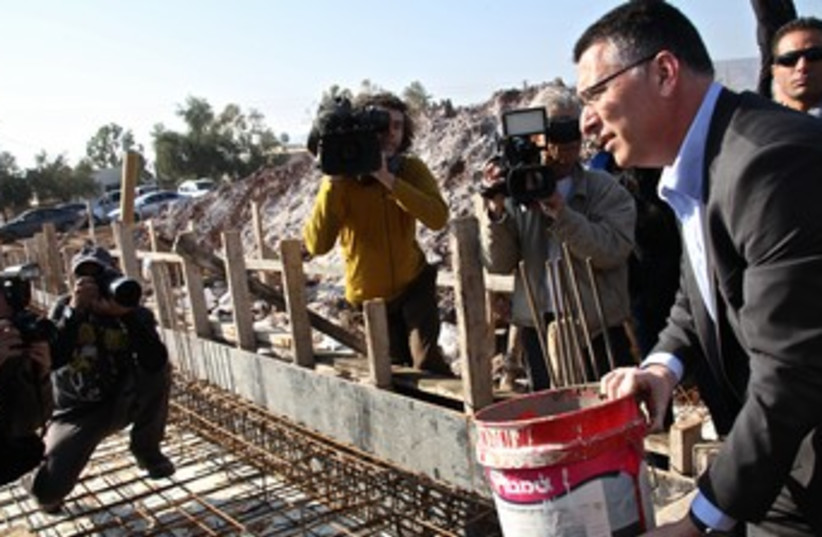 Interior Minister Gideon Sa'ar in the settlement of Gitit  (photo credit: Tovah Lazaroff)
