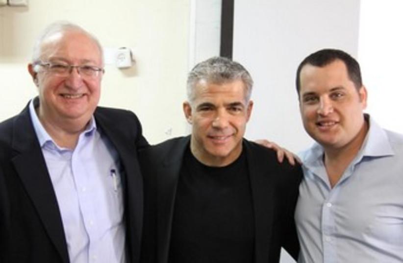 Professor Michael Trajtenberg, Yair Lapid and Ori Reshtick (photo credit: The National Union of Israeli Students)