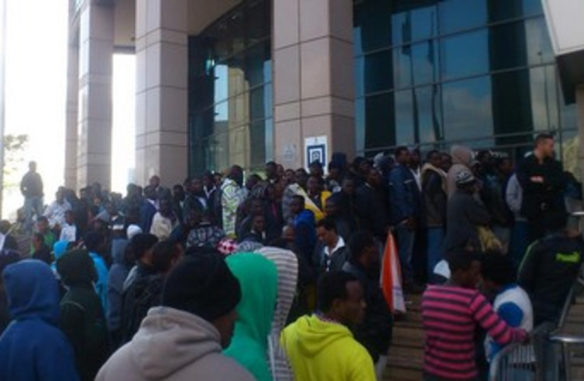 African migrants gather outside Interior Ministry in TA (photo credit: Ben Hartman)