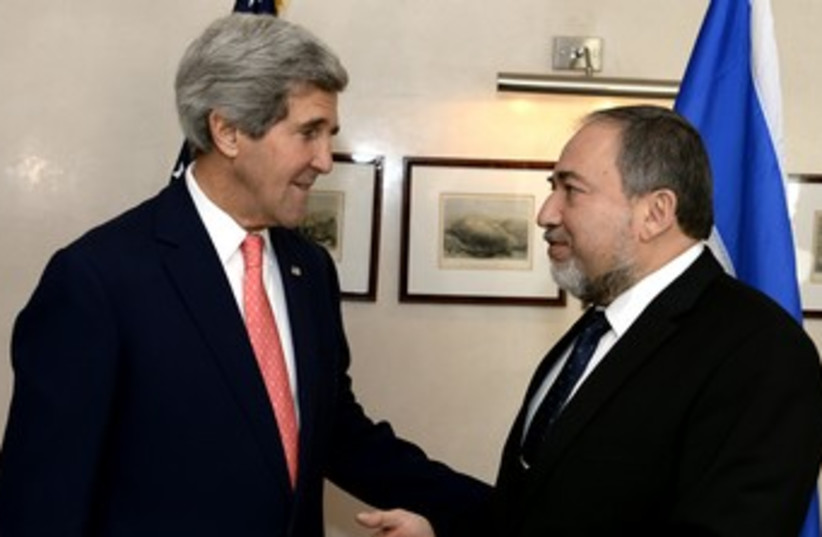 John Kerry and Avigdor Liberman. (photo credit: Matty Stern/US Embassy Tel Aviv)
