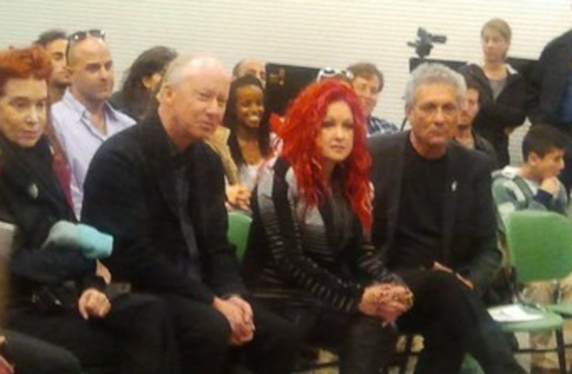 Cyndi Lauper visits music school in Tel Aviv (photo credit: Allie Freedman)