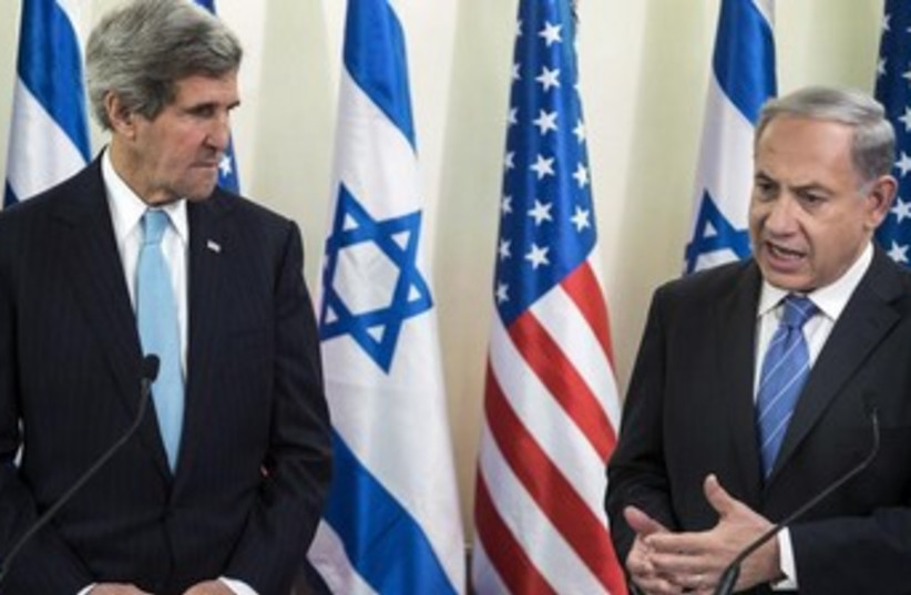 US Secretary of State John Kerry and PM Binyamin Netanyahu (photo credit: REUTERS)