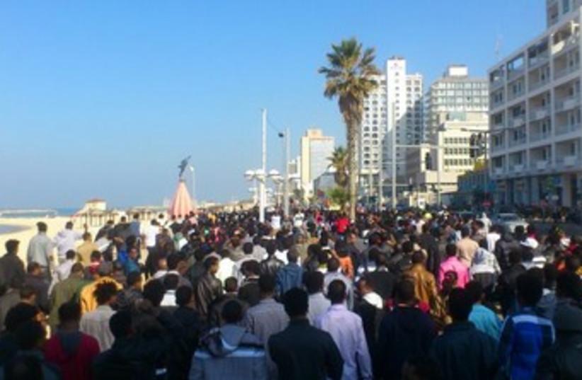 African migrants protest in Tel Aviv, January 6. (photo credit: Ben Hartman)