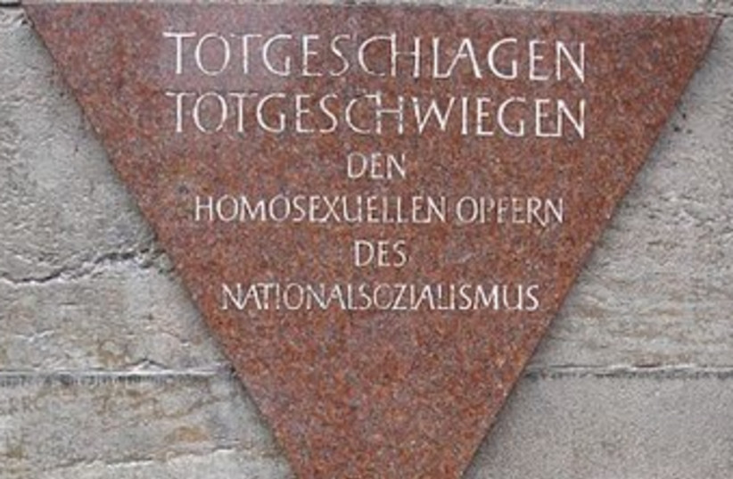 Memorial to gay Holocaust victims in Berlin. (photo credit: Wikimedia Commons)