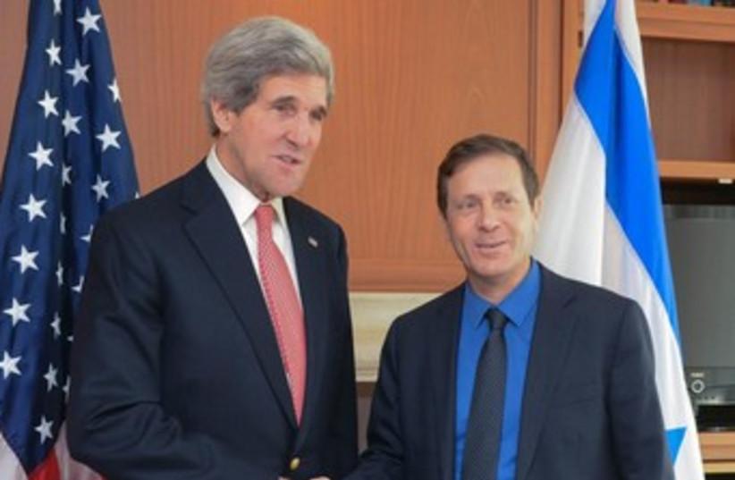 John Kerry and Isaac Herzog (photo credit: Avi Hayun)