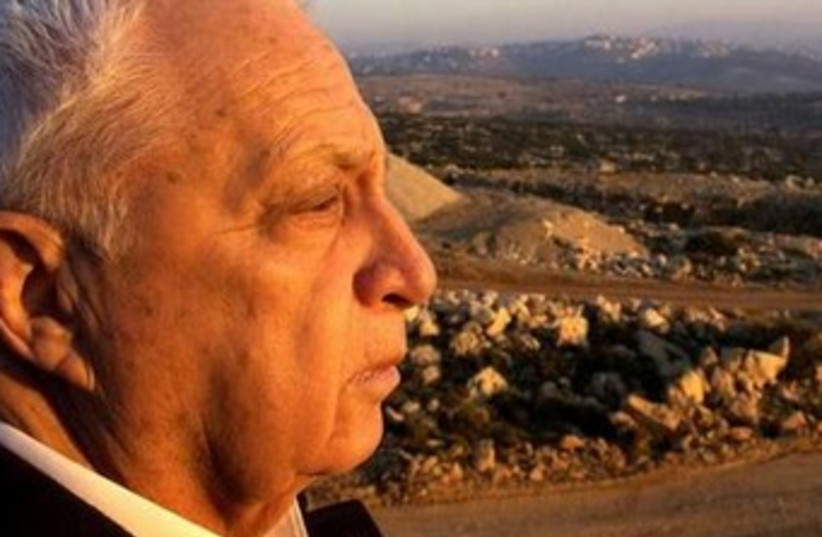 Former Israel prime minister Ariel Sharon gazes at the West Bank  (photo credit: Reuters)