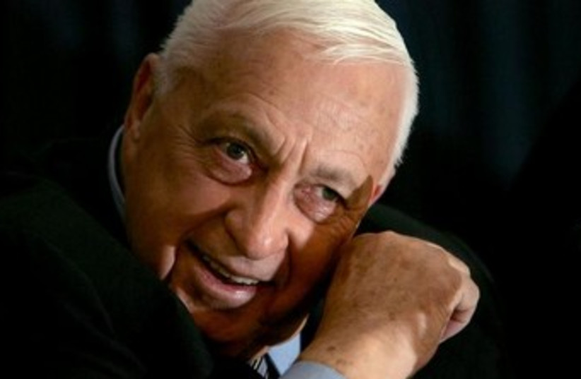 Former Israel prime minister Ariel Sharon speaks to the media (photo credit: Reuters)