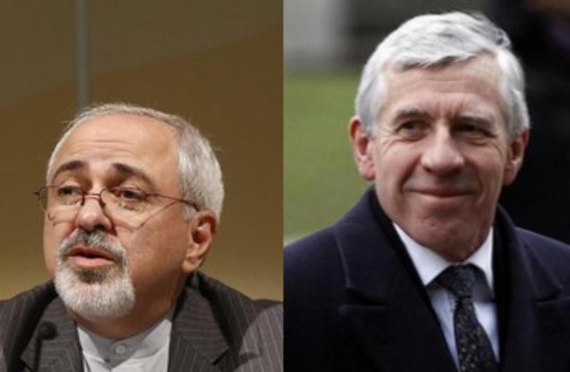 Jack Straw and Mohammad Javad Zarif. (photo credit: REUTERS)