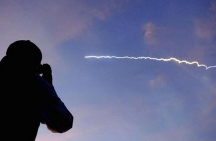 Rocket carrying a micro satellite. (photo credit: REUTERS)