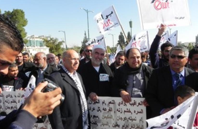 Israeli Arab MKs rally in Beersheba against the Prawer Plan (photo credit: YASSER OKBI)
