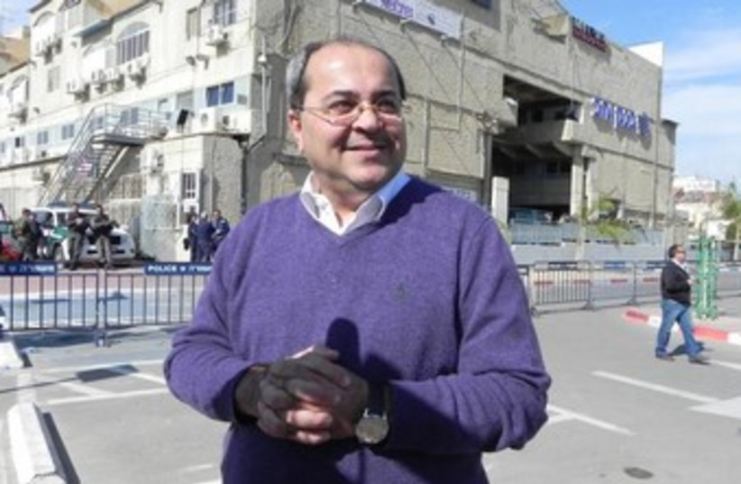 MK Ahmed Tibi at a rally against the Begin Prawer Plan (photo credit: YASSER OKBI)