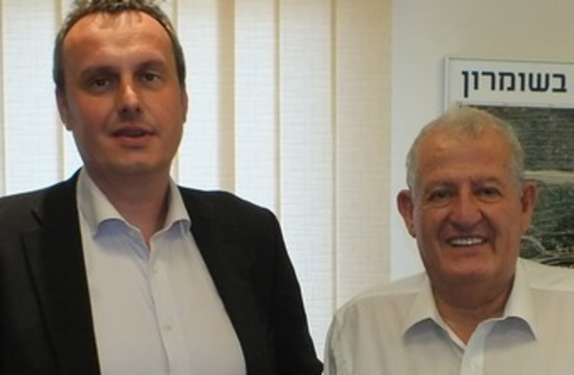 Ambassador Pojar (left) with President of Ariel University Yehuda Danon (photo credit: Courtesy- Ariel University)