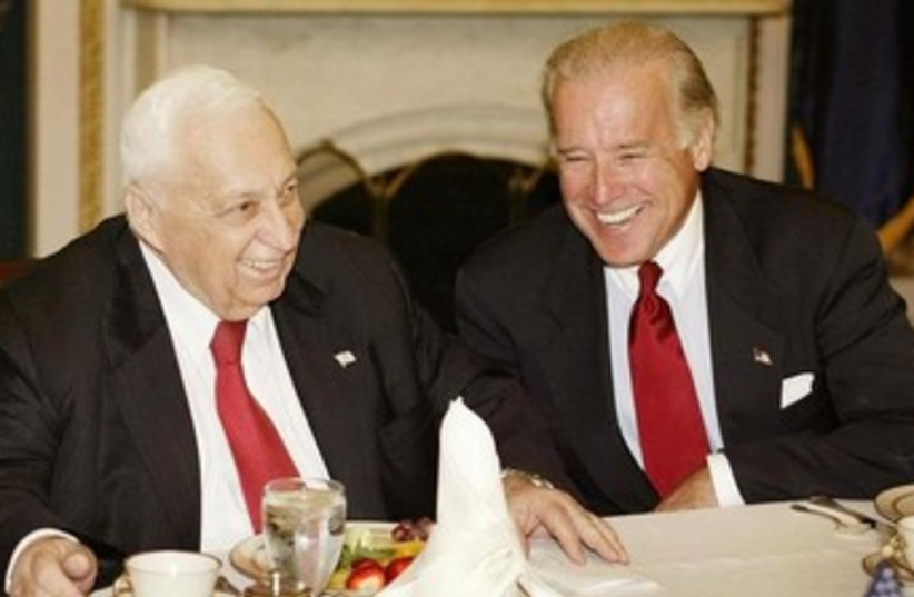 Then-Prime Minister Ariel Sharon meets with then-Senate majority leader Joe Biden in 2002 (photo credit: REUTERS)