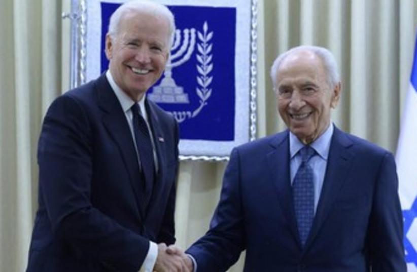 US Vice President Joe Biden meets with President Shimon Peres. (photo credit: GPO)