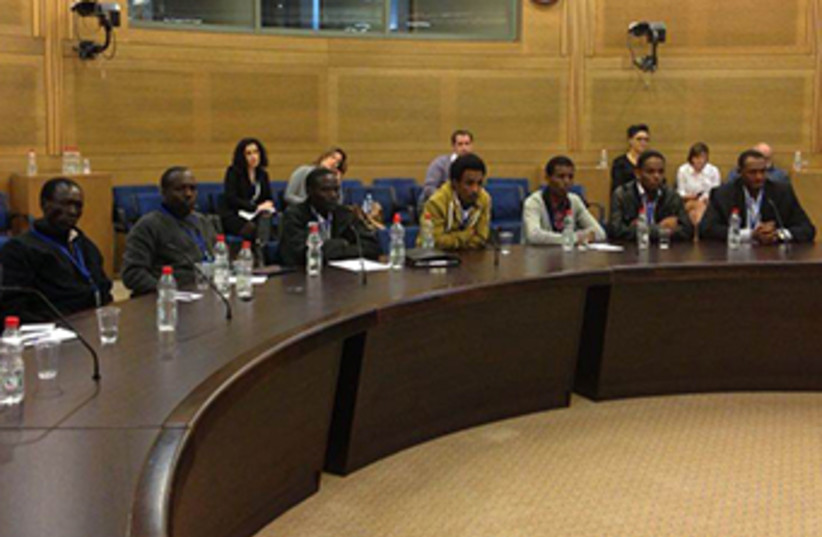 Migrants testify in Knesset (photo credit: Michal Rozin's office)