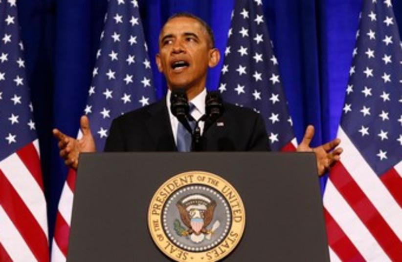 US President Barack Obama speaking on Jan 17 2014 (photo credit: REUTERS)