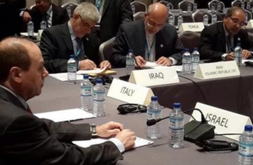 Minister Silvan Shalom at the Abu Dhabi renewable energy conference (photo credit: COURTESY SILVAN SHALOM)