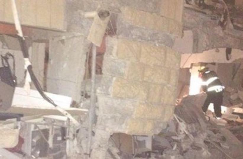 Apartment wreckage in Jerusalem, January 20, 2013 (photo credit: COURTESY UNITED HATZALAH)