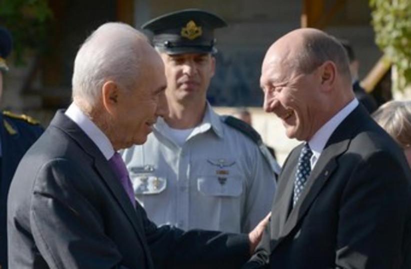 Basescu (photo credit: Mark Neiman/GPO)