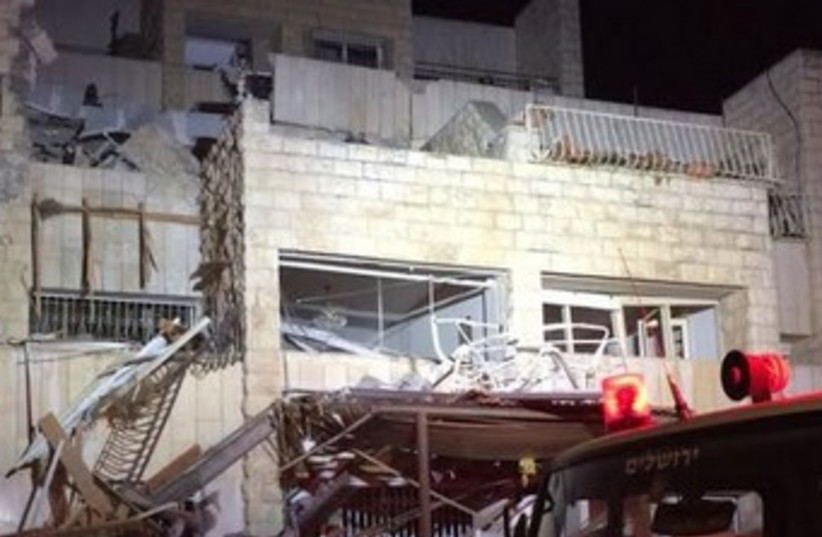 Jerusalem gas explosion, January 20, 2014. (photo credit: MAGEN DAVID ADOM)