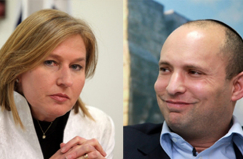 Nafatali Bennett and Tzipi Livni (photo credit: MARC ISRAEL SELLEM/THE JERUSALEM POST)