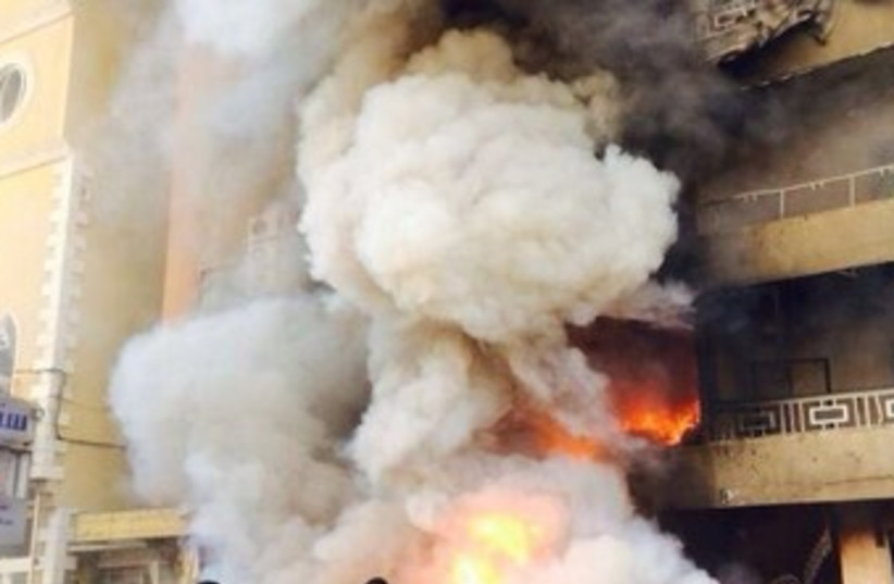 Explosion in Hezbollah stronghold in southern Beirut, Jan. 21. (photo credit: LEBANESE MEDIA)