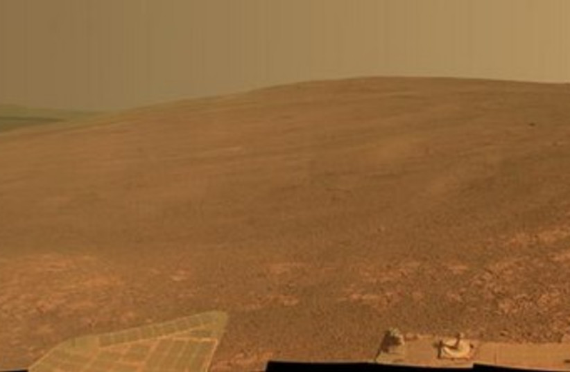 """The """"Murray Ridge"""" portion of the western rim of Endeavour Crater on Mars (photo credit: REUTERS)"""