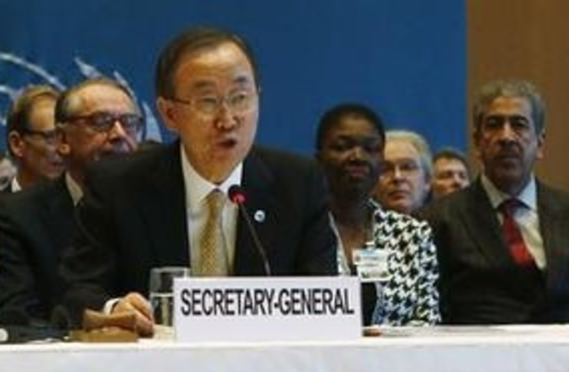 UN Secretary-General Ban Ki-moon at a conference on the Syrian conflict, January 22, 2014. (photo credit: REUTERS)