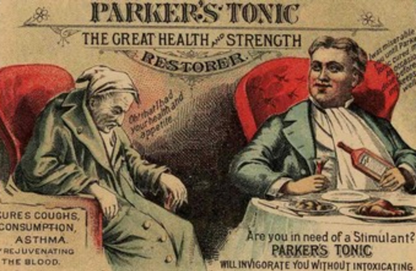 Old-time American cure-all: the panacea-peddlers' sweetened solutions were good for nothing. (photo credit: Courtesy)