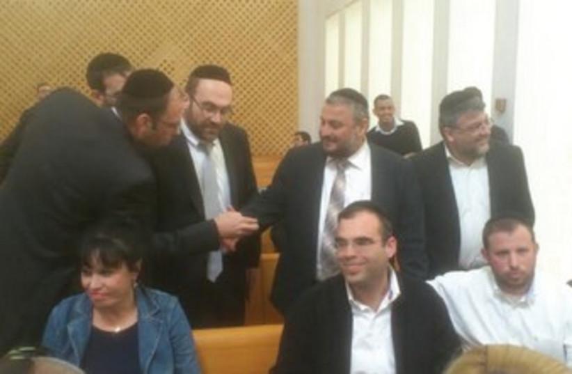 Beit Shemesh Mayor Moshe Abutbul (standing, 2nd from right). (photo credit: YONAH JEREMY BOB)
