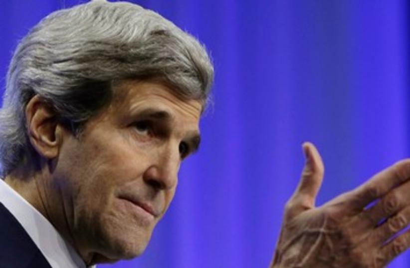John Kerry in Davos, January 24, 2014 (photo credit: REUTERS)