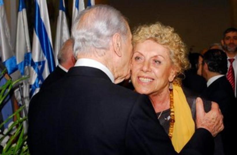 President Peres and Shulamit Aloni 370 (photo credit: GPO)