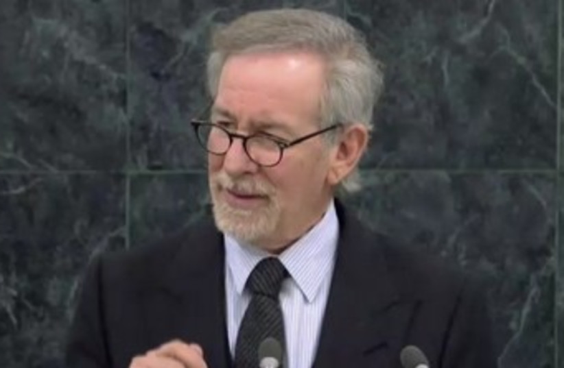 Director Steven Spielberg speaks at a special General Assembly session marking International Holocaust Day, January 27, 2014. (photo credit: screenshot)