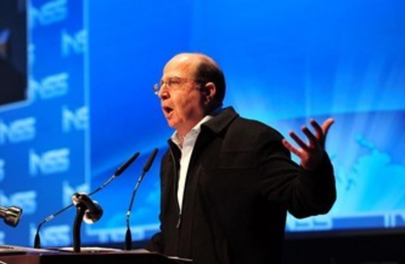 Defense Minister Ya'alon speaks at INSS conference (photo credit: ARIEL HERMONI / DEFENSE MINISTRY)