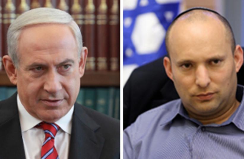 Economy Minister Naftali Bennett (R) and Prime Minister Binyamin Netanyahu (photo credit: MARC ISRAEL SELLEM/THE JERUSALEM POST)