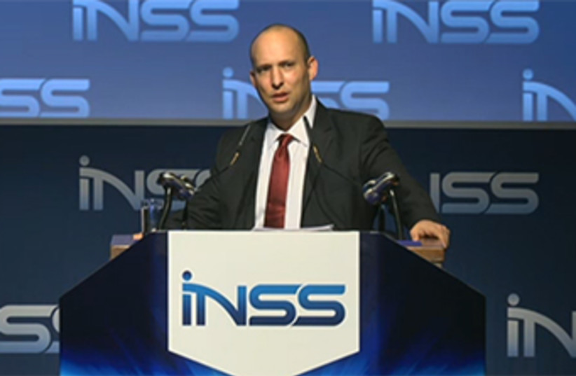 Naftali Bennet speaking at INSS conference January 28 2014 (photo credit: screenshot)