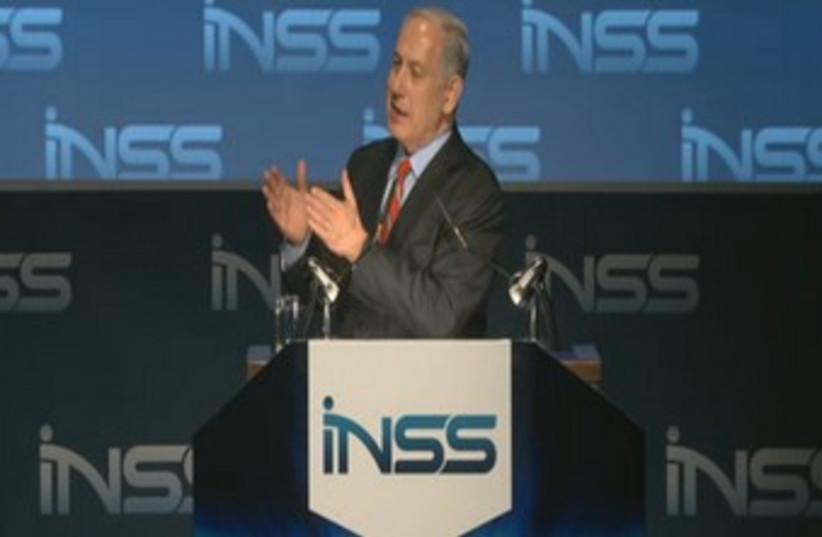 Prime Minister Binyamin Netanyahu at INSS Jan 28 2014 (photo credit: screenshot)
