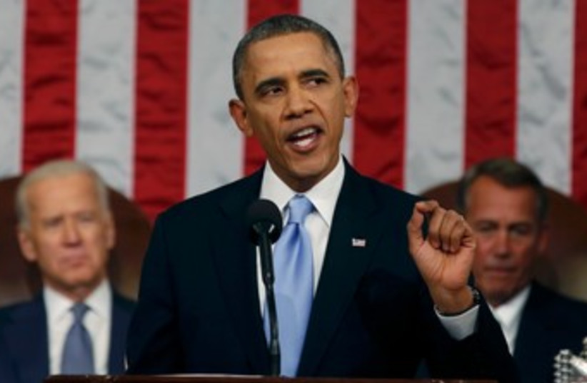 US President Barack Obama delivers his State of the Union speech on Capitol Hill in Washington, January 28, 2014. (photo credit: REUTERS)