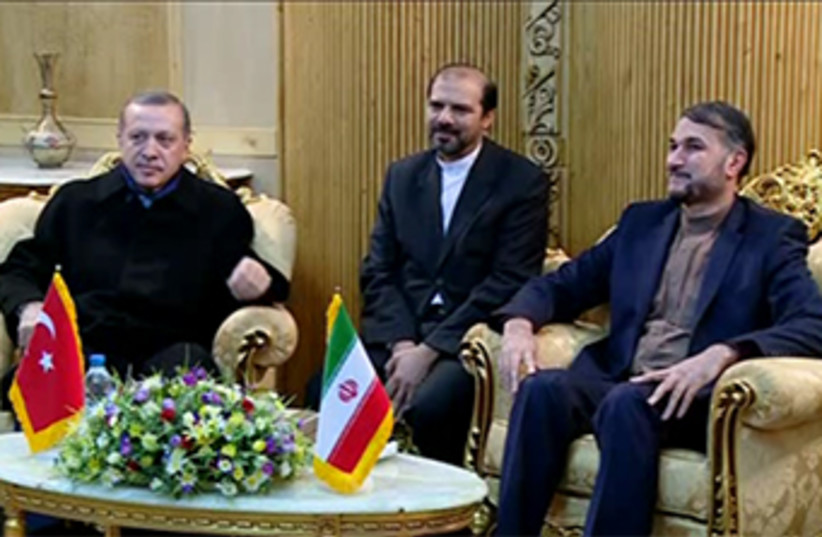 Turkish PM Erdogan in Iran. (photo credit: REUTERS)