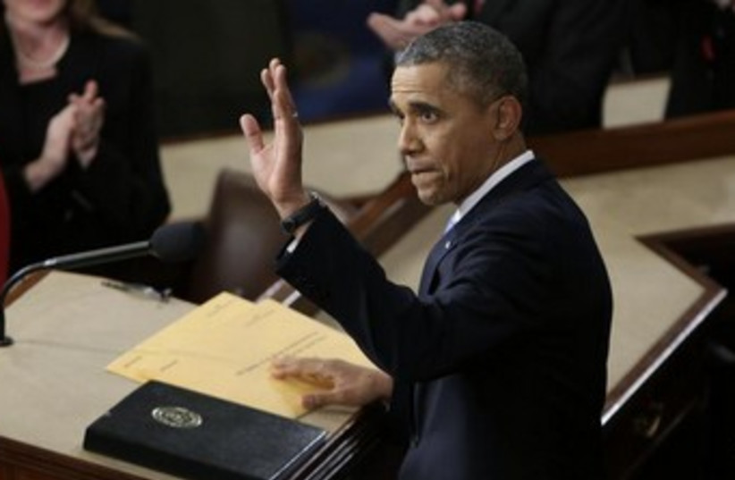 US President Barack Obama makes a State of the Union address, January 28, 2014.  (photo credit: REUTERS)