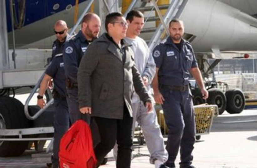 Abergil heading to jail January 30 2014 (photo credit: COURTESY ISRAEL PRISON SERVICE)