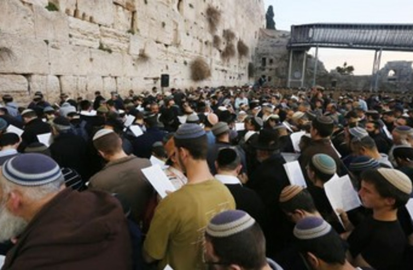 Demonstrations at the Western Wall in Jerusalem, January 30, 2014. (photo credit: MARC ISRAEL SELLEM/THE JERUSALEM POST)