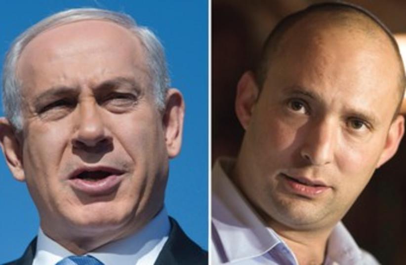 Prime Minister Binyamin Netanyahu and Economy Minister Naftali Bennett (photo credit: BAZ RATNER,REUTERS)