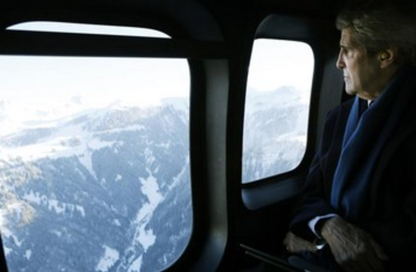 US Secretary of State John Kerry en route to Davos (photo credit: REUTERS)