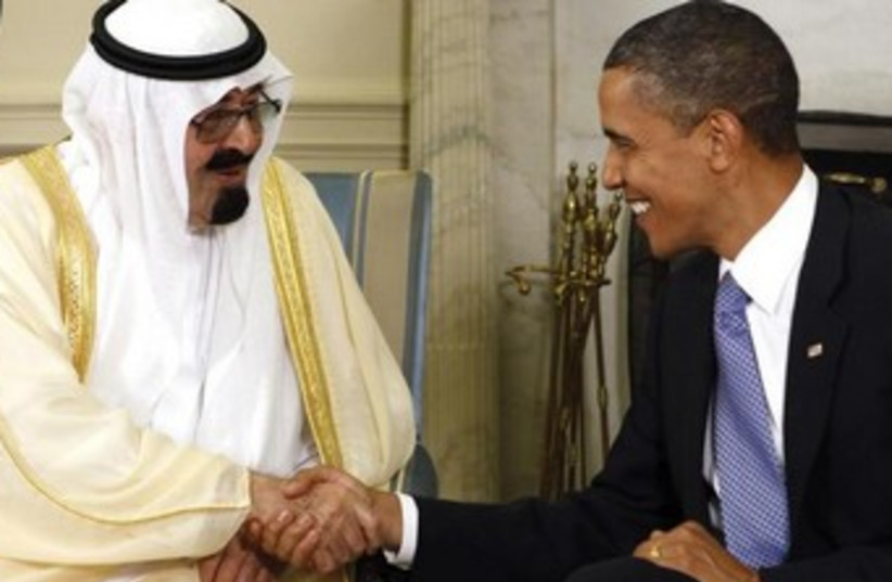 US President Barack Obama and Saudi King Abdullah in the White House in 2010 (photo credit: REUTERS)