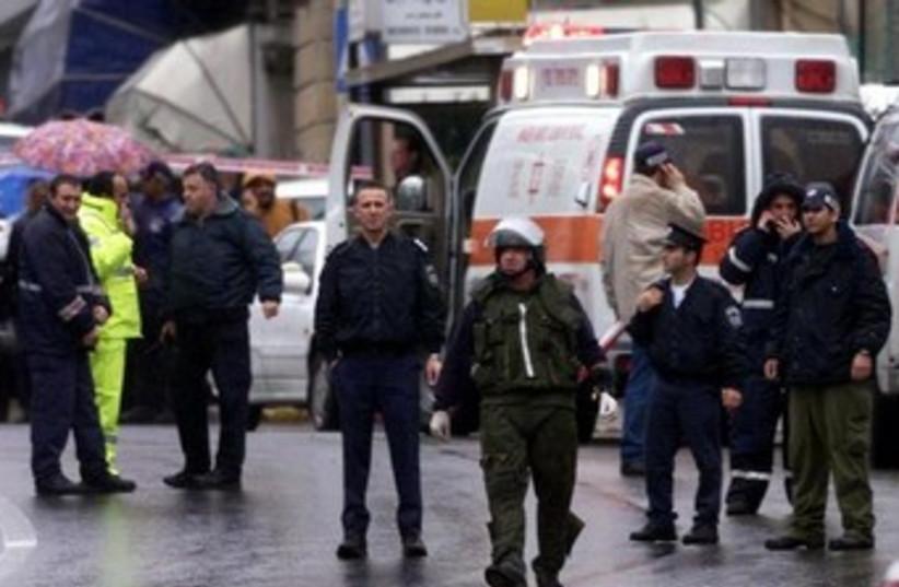 The scene outside the David Citadel Hotel in Jerusalem, Dec. 5, 2001. (photo credit: REUTERS)